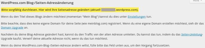 Blog/Seite Adressänderung